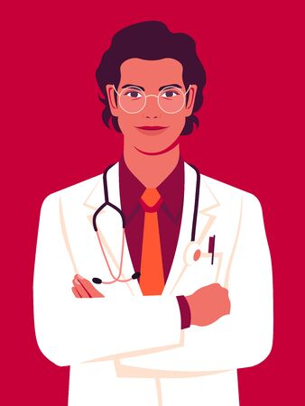 A young doctor in a medical gown. Portrait of professional. Working in a hospital or clinic. Concept vector illustration in flat style