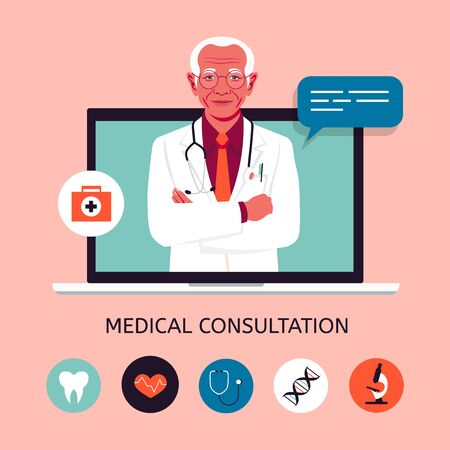 An elder doctor in the laptop screen. Online medical consultation and support. Concept vector illustration in flat style with icons.  イラスト・ベクター素材