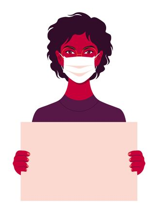 African young woman wears medical mask holds in her hands a poster without text on a white background. Coronavirus. Human rights A student is protesting. Vector illustration in flat style