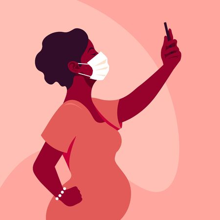 An African woman wears medical mask takes a selfie and holds smartphone in her hand. Pregnancy Coronavirus. A mother. Side view. Vector flat illustration  イラスト・ベクター素材