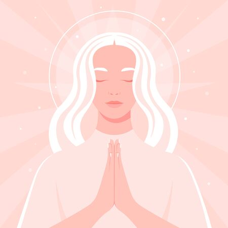 Prayer to God. Portrait of a young woman with her eyes closed. Vector flat illustrations  イラスト・ベクター素材