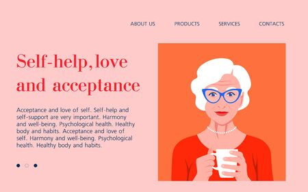 An elderly woman holds a cup in her hands and smiles. Psychology Rest at home. Website template Vector flat illustration