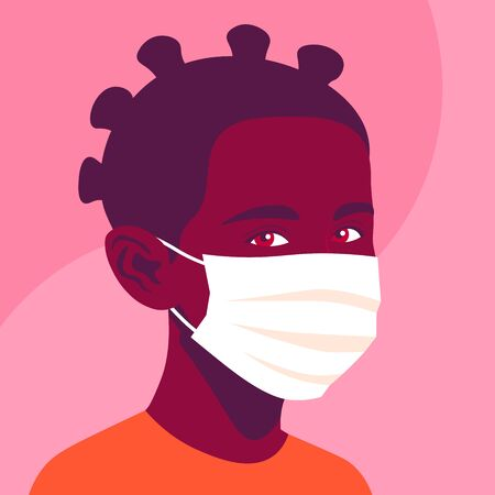 Portrait of an African girl with medical mask. The face of a child. Avatar of a schoolgirl. Vector flat illustration