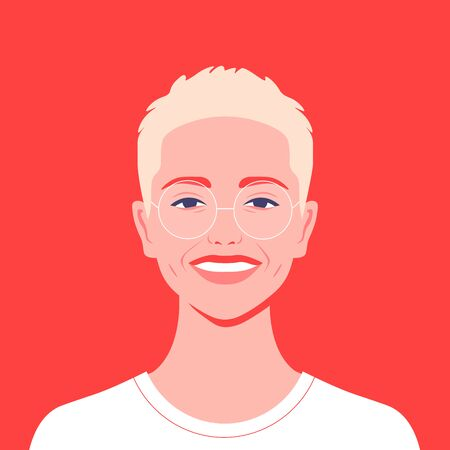 Portrait of a blond teenager. Avatar of a happy student of the university. Colorful vector flat illustration