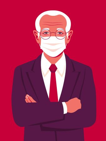 Portrait of an elderly man with medical mask. Successful businessman stands with arms crossed. An Asian grandfather. Vector bright illustration in flat style.