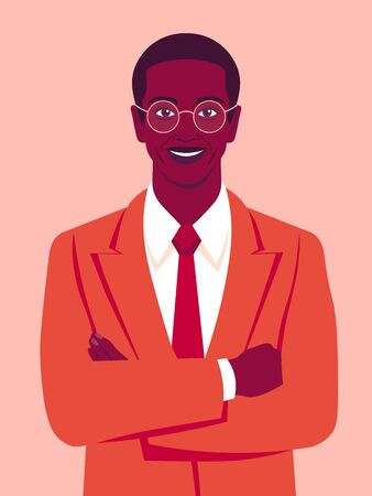 Portrait of a happy African man with crossed arms and wearing in a business suit. Office professions. Vector flat illustration.