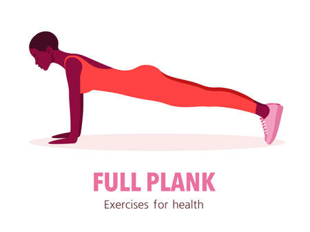 African woman in a plank pose. Girl in profile. Fitness at home. Sport exercises. Vector flat illustration