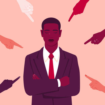 The shame. Hands of different people point to the young African man. Portrait of crying businessman. Bankrupt. Different opinions and the pressure of society. Vector flat illustration
