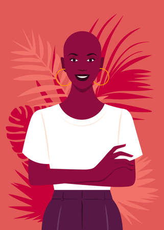 African girl standing with arms crossed. Portrait of a happy young bald woman. Vector flat illustration  イラスト・ベクター素材
