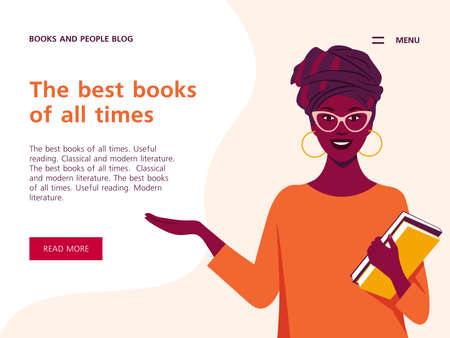 African woman holds books in her hands. Horizontal banner with text. Website template for library. Vector flat illustration