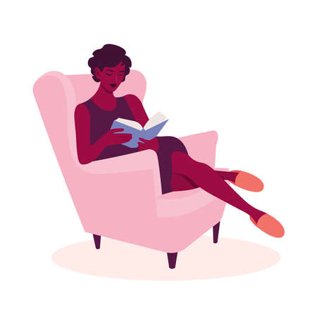 The African woman sits in an armchair and reads the book. Leisure of the house. Vector flat illustration  イラスト・ベクター素材