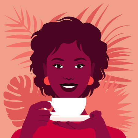 An African woman is holding a cup of tea or coffee. The pleasure of a hot drink. Happy breakfast. Vector flat illustration