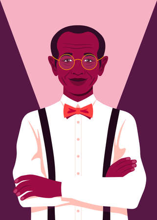 Portrait of an African elderly man. Successful businessman stands with arms crossed. Elegant grandfather is smiling. Vector bright illustration in flat style