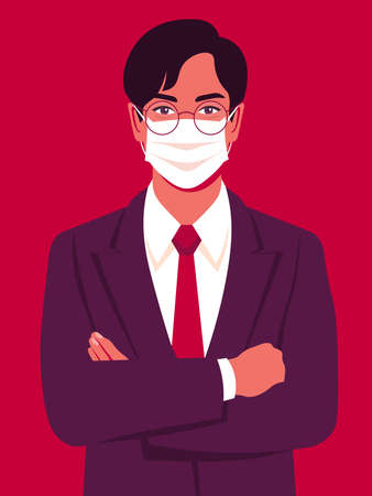 Portrait of an Asian man with medical mask. Successful businessman stands with arms crossed. Vector bright illustration in flat style  イラスト・ベクター素材