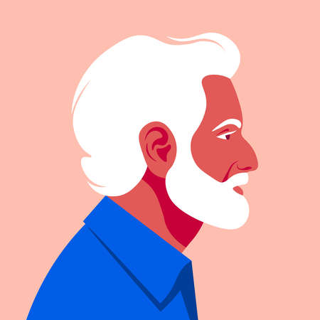 Profile of an elderly man. The face of the pensioner is on the side. Avatar. Vector flat illustration  イラスト・ベクター素材