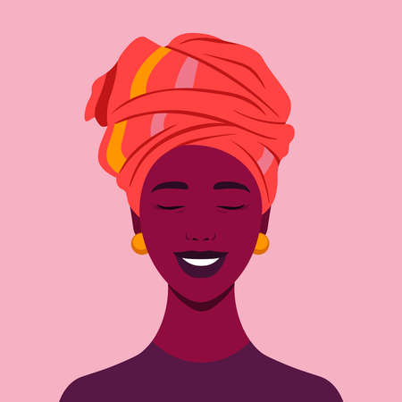 The face of a happy African girl. Avatar of a laughing young woman. Portrait. Vector flat illustration