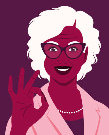 Portrait of an elderly African woman makes an okay gesture. A successful employee. Office professions. Vector flat illustration.