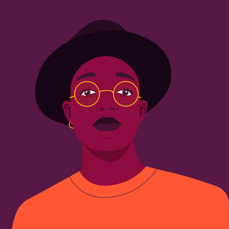 Portrait of a young African man in a hat and glasses. Self-confidence. Vector flat illustration Иллюстрация