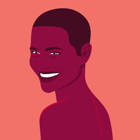 Portrait of a happy African woman. Fashion model is smiling. Summer holiday. Bright vector illustration in flat style.