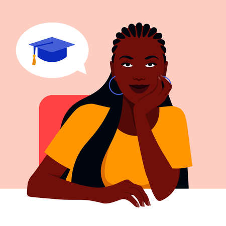 An African girl sits at a table and dreams about studying at the university. Vector flat illustration  イラスト・ベクター素材