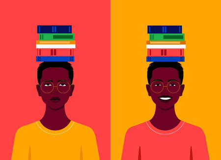 The African student with books on his head is sad and cheerful. Difficulty in preparing for exams. Successful studies at school, college and university. Vector flat illustration