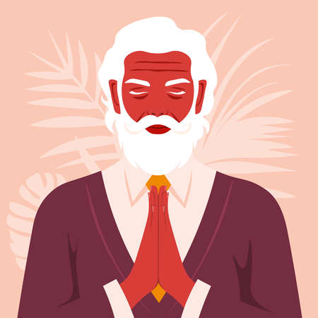 Prayer to God. Portrait of an elderly man with his eyes closed. Vector flat illustrations