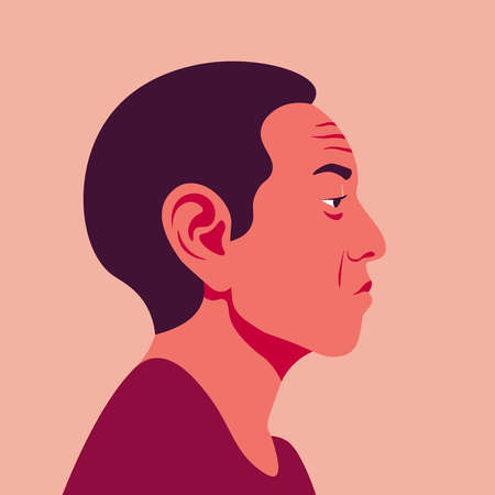 Profile of an Asian man. The face of the pensioner is on the side. Avatar of grandfather. Vector flat illustration
