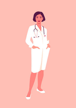 An Asian woman doctor in a medical uniform. Full-length portrait of professional. Working in a hospital or clinic. Concept vector illustration in flat style