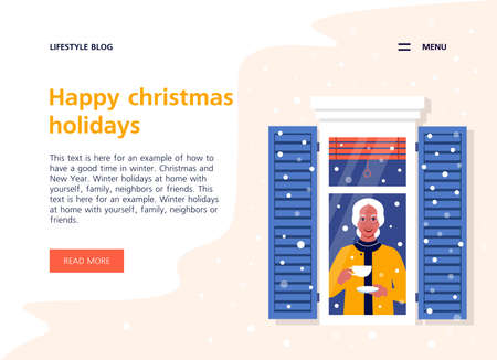 An elderly woman from the window looking through at the street. Neighborhood. The grandmother. Winter snowfall. Landing page and website template. Vector flat illustration  イラスト・ベクター素材