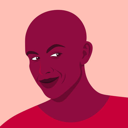 Portrait of an African cunning man. Tricky and smart guy. Cheater. Vector flat illustration  イラスト・ベクター素材