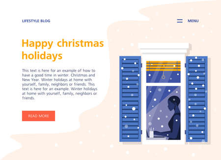 An African woman works in the house outside the window. Neighborhood. Business woman sitting at the table. Winter snowfall. Landing page and site template. Vector illustration  イラスト・ベクター素材