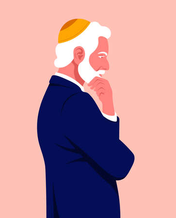 Portrait of a pensive man in profile. An elderly businessman is standing. Side view. Problems in business. Vector flat illustration