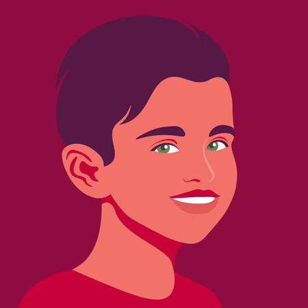 Portrait of a happy boy. The face of a smiling child. Avatar of a schoolboy. Vector flat illustration  イラスト・ベクター素材