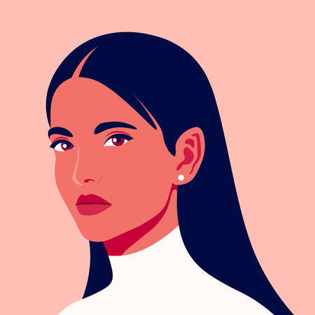 Portrait of a beautiful girl in half-turn. Young brunette woman. Avatar for social networks. Fashion and beauty. Bright vector illustration in flat style. 矢量图像