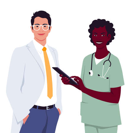 The doctor dressed in a white medical coat. The African woman holding a tablet. Professions. Diagnosis and treatment of diseases online. Coronavirus. Vector flat illustration