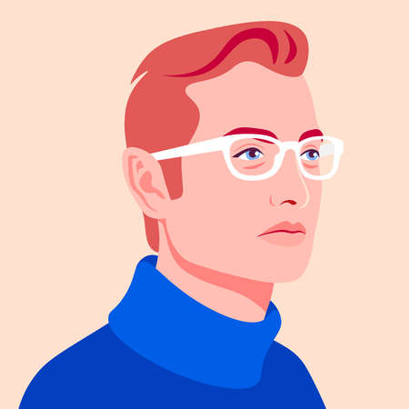 Portrait of a redhead man. Avatar of a caucasian guy for social network. Colorful portrait. Young businessman. Vector flat illustration