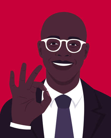 Portrait of a happy African man makes an okay gesture and wearing in a business suit. Office professions. Vector flat illustration.  イラスト・ベクター素材
