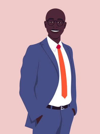 Portrait of a happy African man wearing in a business suit. Office professions. Vector flat illustration  イラスト・ベクター素材