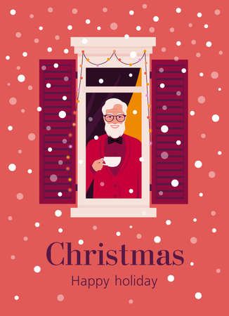 An elderly man from the window looking through at the street. Neighborhood. The grandfather with cup of coffee. Winter snowfall. Christmas postcard. Vector flat illustration