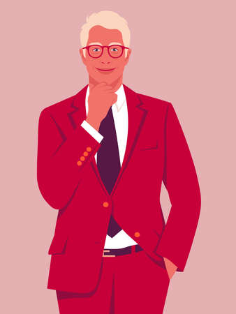Portrait of a happy blond man wearing in a business suit. Office professions. Vector flat illustration  イラスト・ベクター素材
