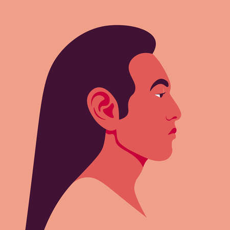 Male's head with long hair in a profile. Asian guy's face side view. Avatar for social networks. Vector flat illustration