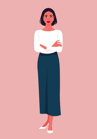 Portrait of a hispanic woman stands full-length with arms crossed. Popular office professions and business. Vector flat illustration Illusztráció