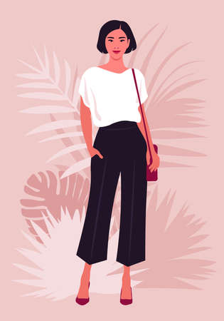 Portrait of an Asian woman who stands in full height with shoulder bag. Vector illustration  イラスト・ベクター素材