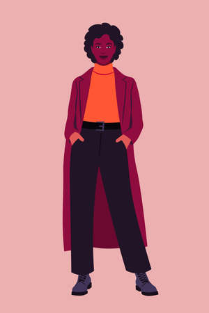 Portrait of a full-length African woman wearing a coat. Vector flat illustration  イラスト・ベクター素材