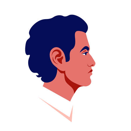Male's head in a profile. Caucasian guy's face side view. Avatar for social networks. Vector flat illustration