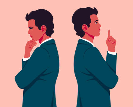 A young businessman is standing in profile. A hispanic man is thinking and making a decision. Problems and ideas in business. Innovation and startup. Vector flat illustration