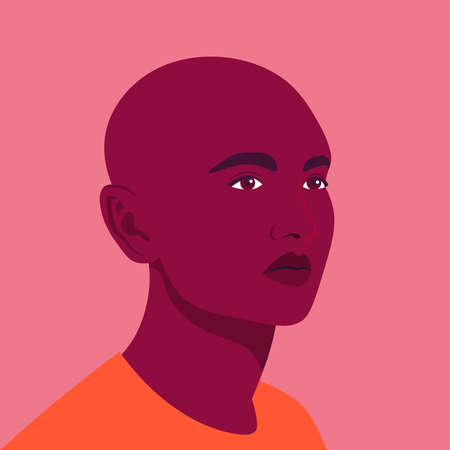 A portrait of young African transgender. A non-binary person. Millennial generation. A face of a genderqueer student. LGBTQ. Vector flat illustration
