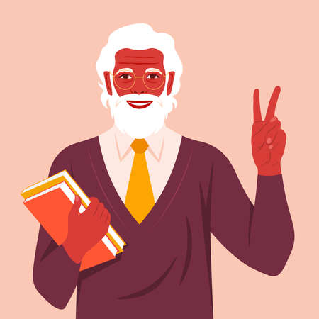 An elderly man with books smiling and showing a victory sign. Happy grandfather. Hand gesture. Vector flat illustration  イラスト・ベクター素材