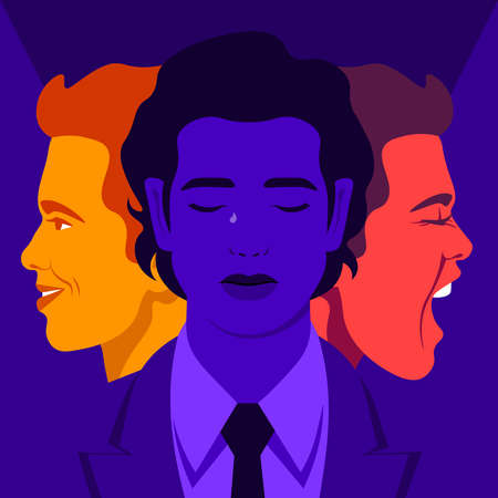 Bipolar disorder. Joy and aggression. Scream and smile. Male's face in profile. Vector flat illustration  イラスト・ベクター素材