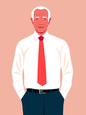 An elderly man holds his hands in his pants pockets. A happy self confident businessman. An experienced politician smiles. Vector flat illustration